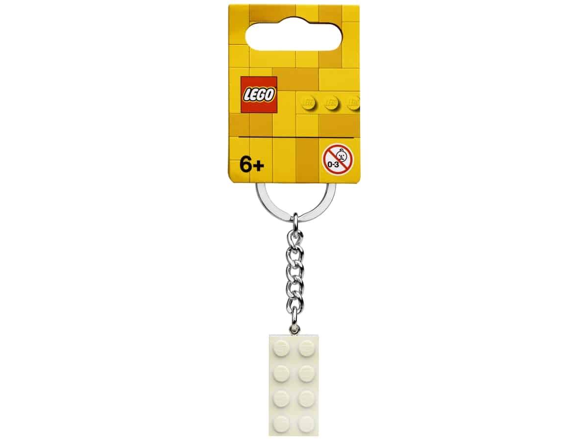 lego 854084 2x4 white metallic keyring
